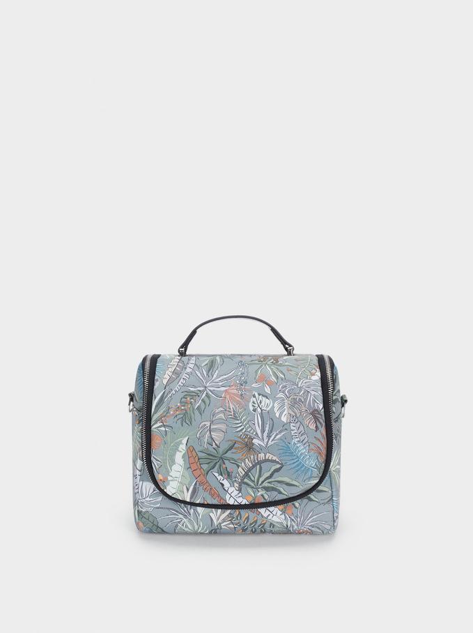 Nylon Printed Lunch Bag, Khaki, hi-res