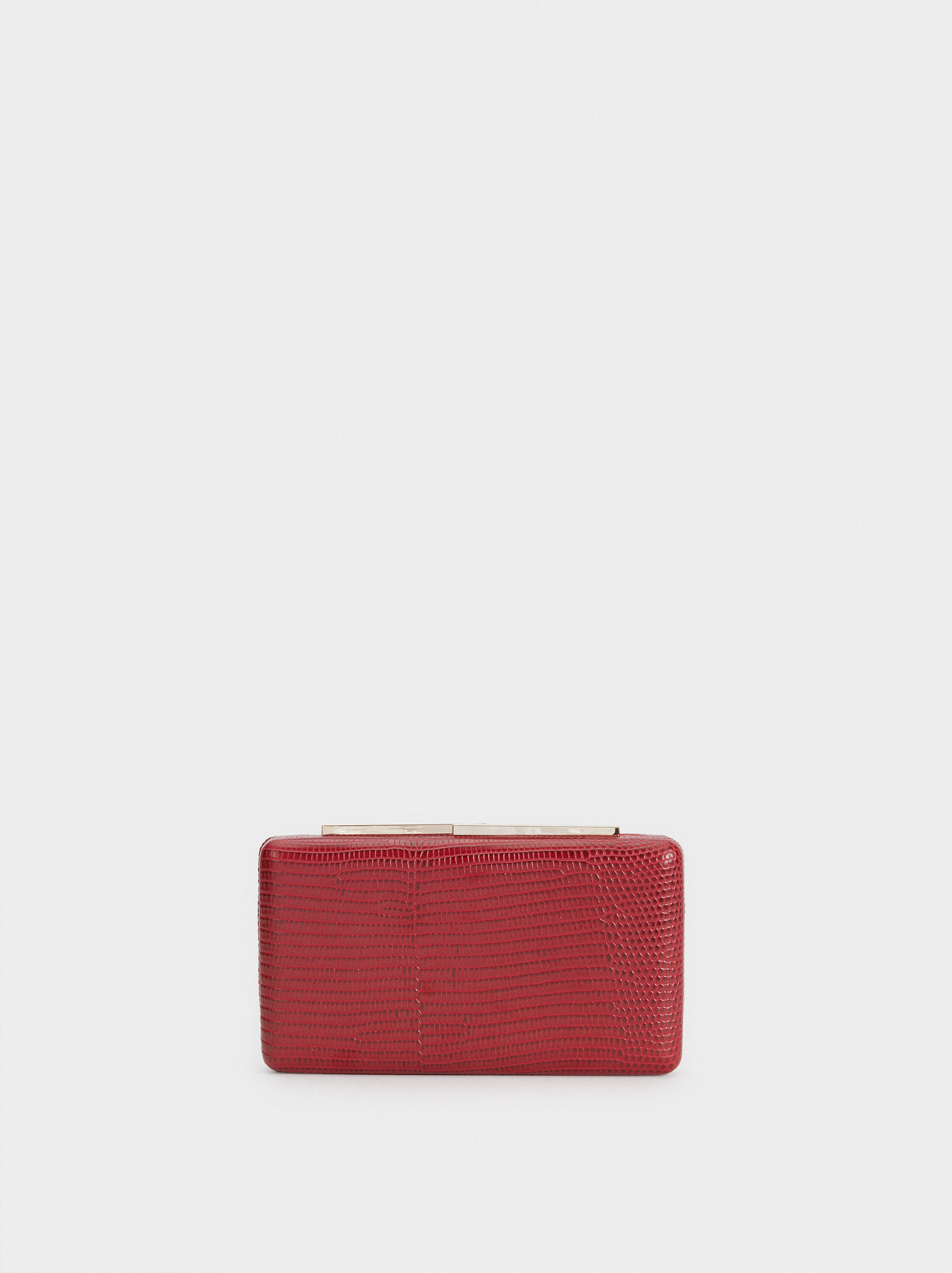 Embossed Animal Print Clutch, Red, hi-res