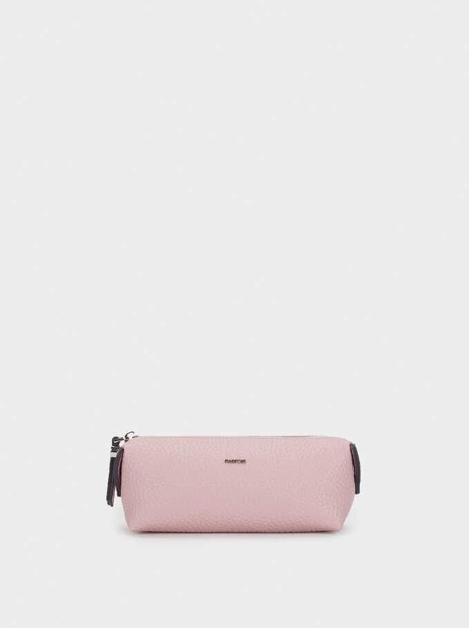 Textured Pencil Case, Pink, hi-res