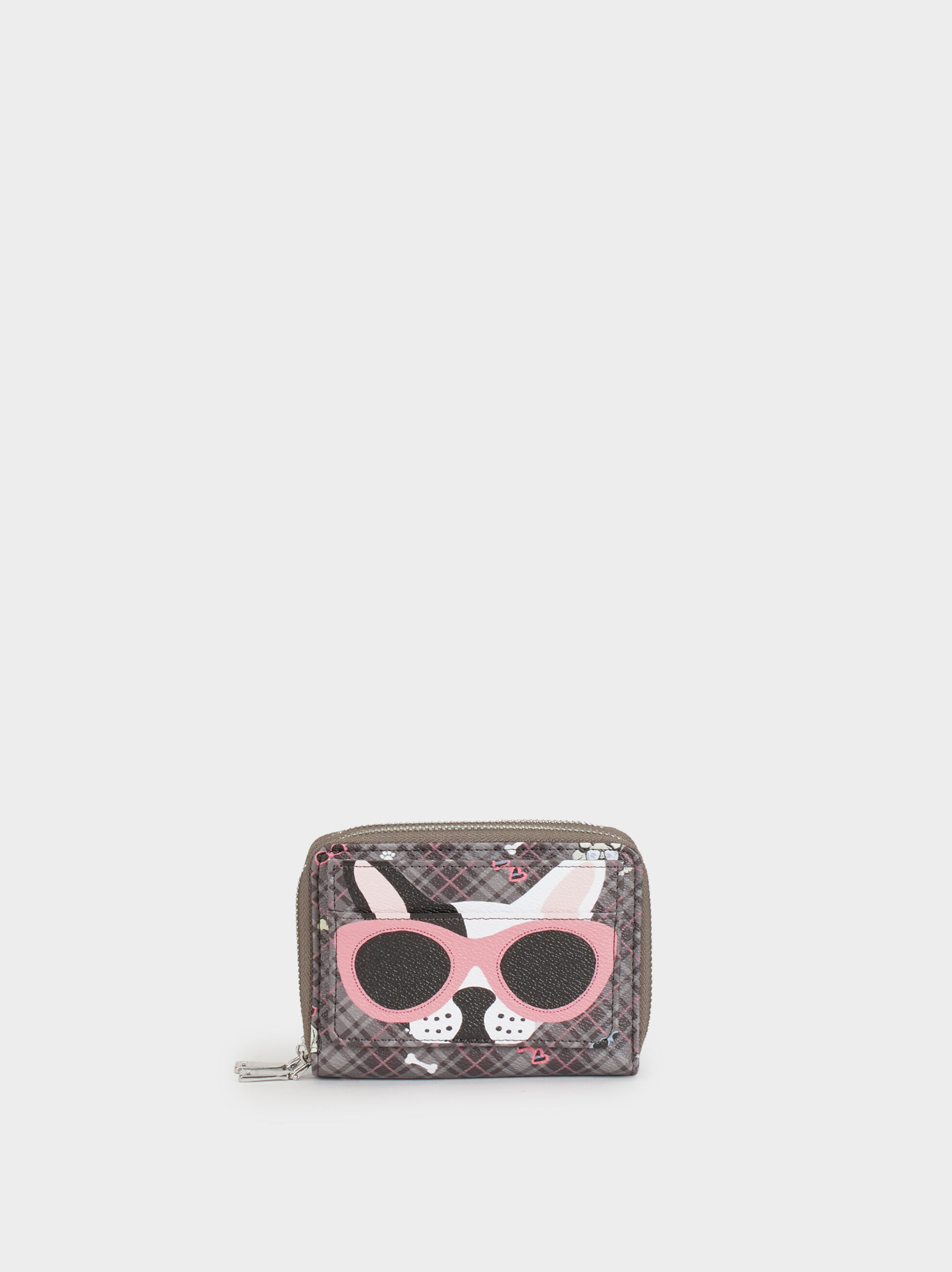 Small Printed Purse, Grey, hi-res
