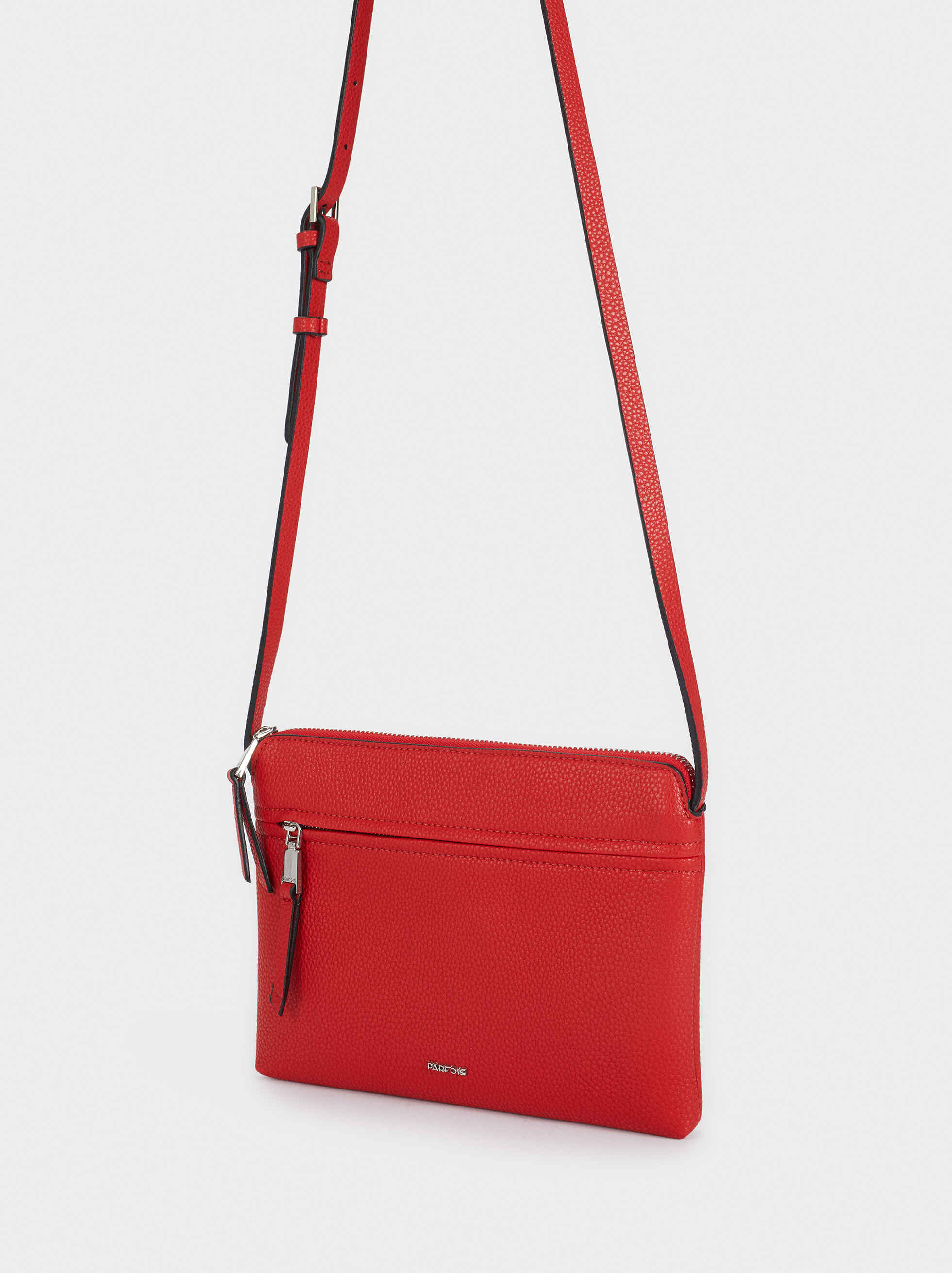 Crossbody Bag With Outer Pocket, Red, hi-res
