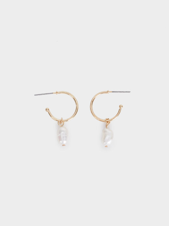 Fancy Pearls Small Hoop Earrings, White, hi-res