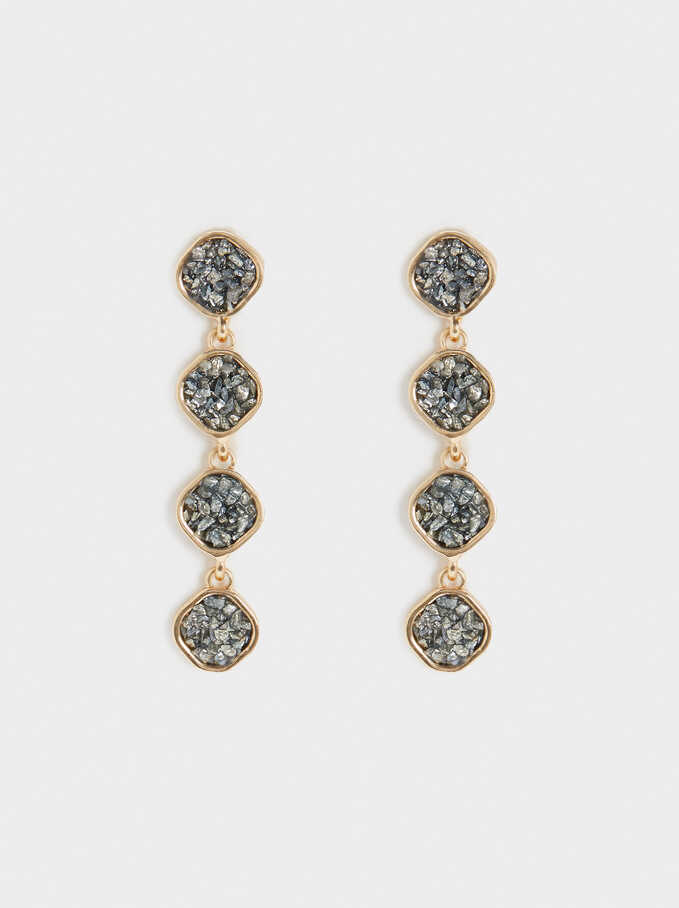 Long Earrings With Crystals, Grey, hi-res