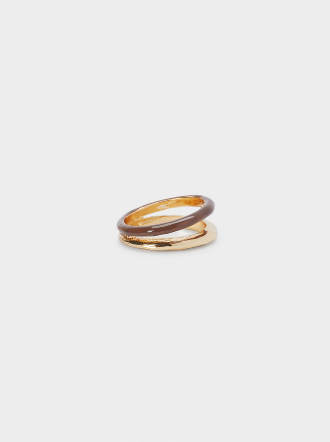 Band Ring With Enamel, Brown, hi-res