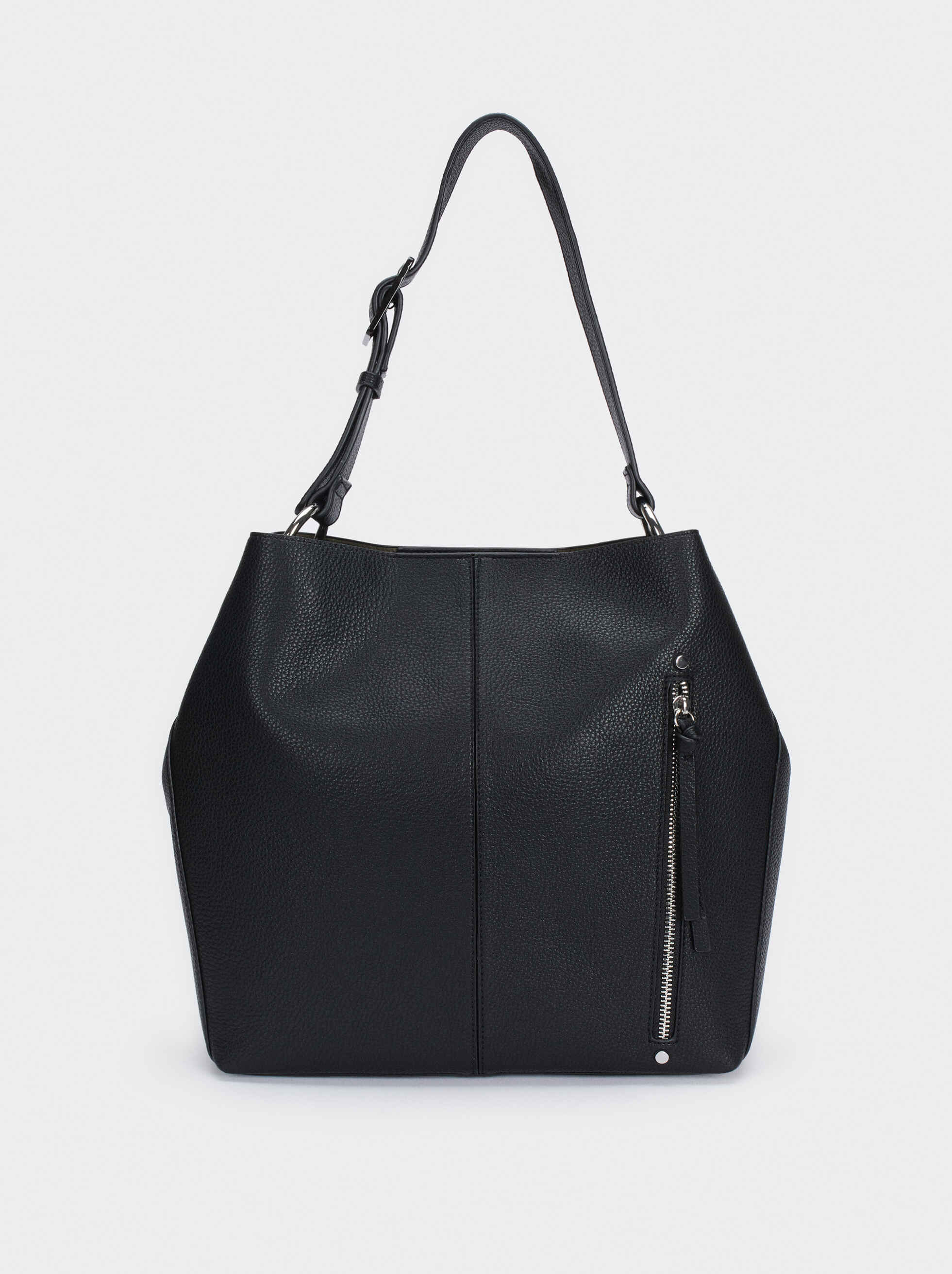 Shoulder Bag With Exterior Pocket, , hi-res