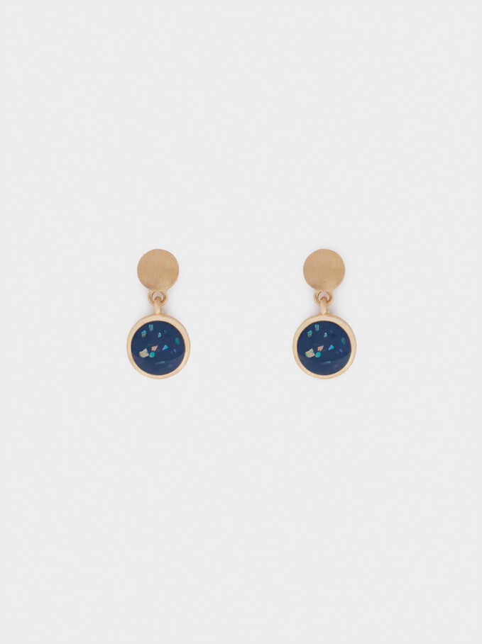 Short Enamel Earrings, Navy, hi-res