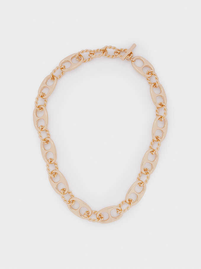 Short Gold-Toned Chain Necklace, Golden, hi-res