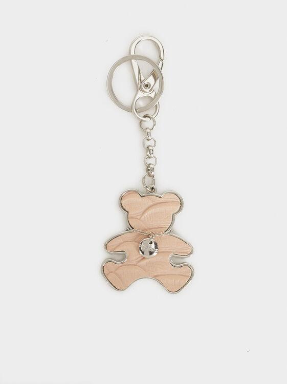 Bear Key Ring, Pink, hi-res