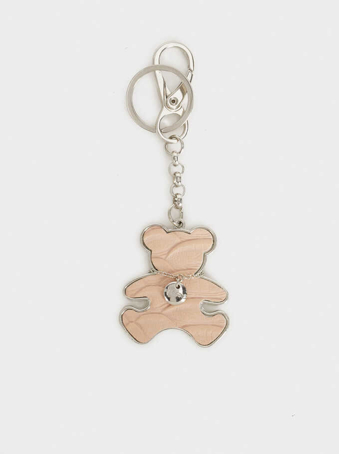 Bear Key Ring, Pink, hi-res