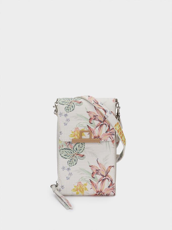 Housse Portable Imprimé Floral, Corail, hi-res