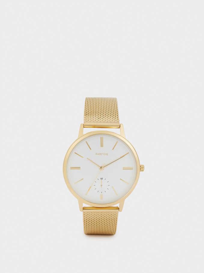 Watch With Metallic Mesh Wristband, Golden, hi-res