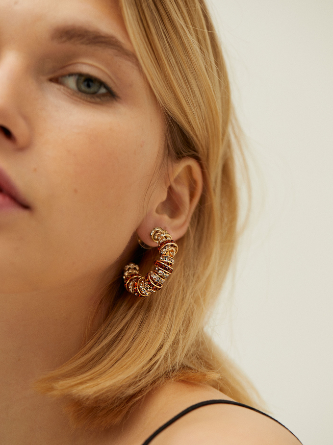 Hoop Earrings With Crystals, Golden, hi-res
