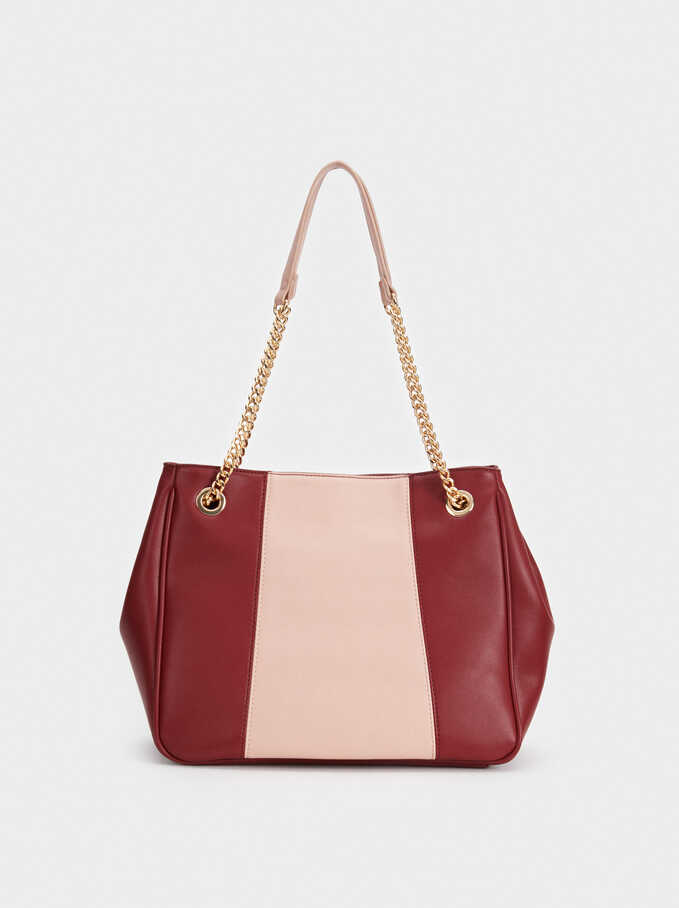 Plain Shoulder Bag, Bordeaux, hi-res
