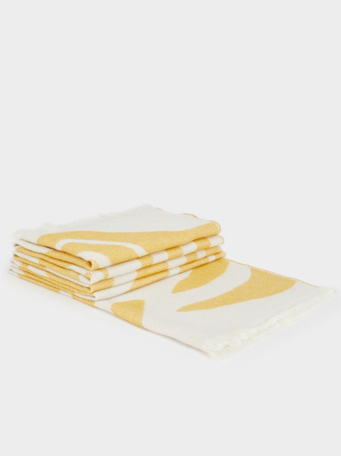 Printed Maxi Scarf, Yellow, hi-res