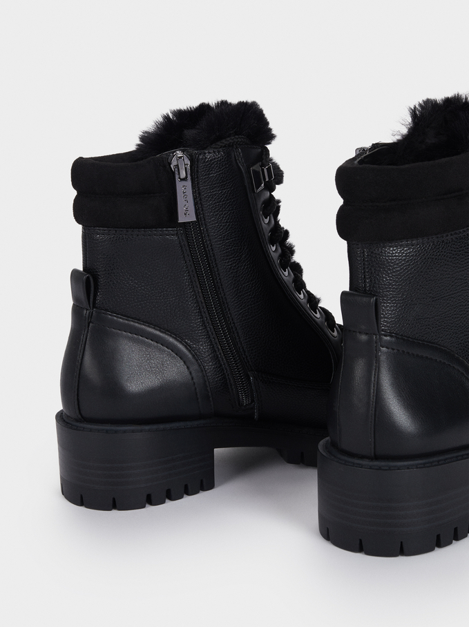 Military Ankle Boots With Faux Fur, Black, hi-res