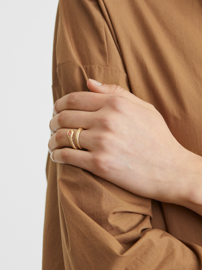 Basic Textured Ring, Golden, hi-res