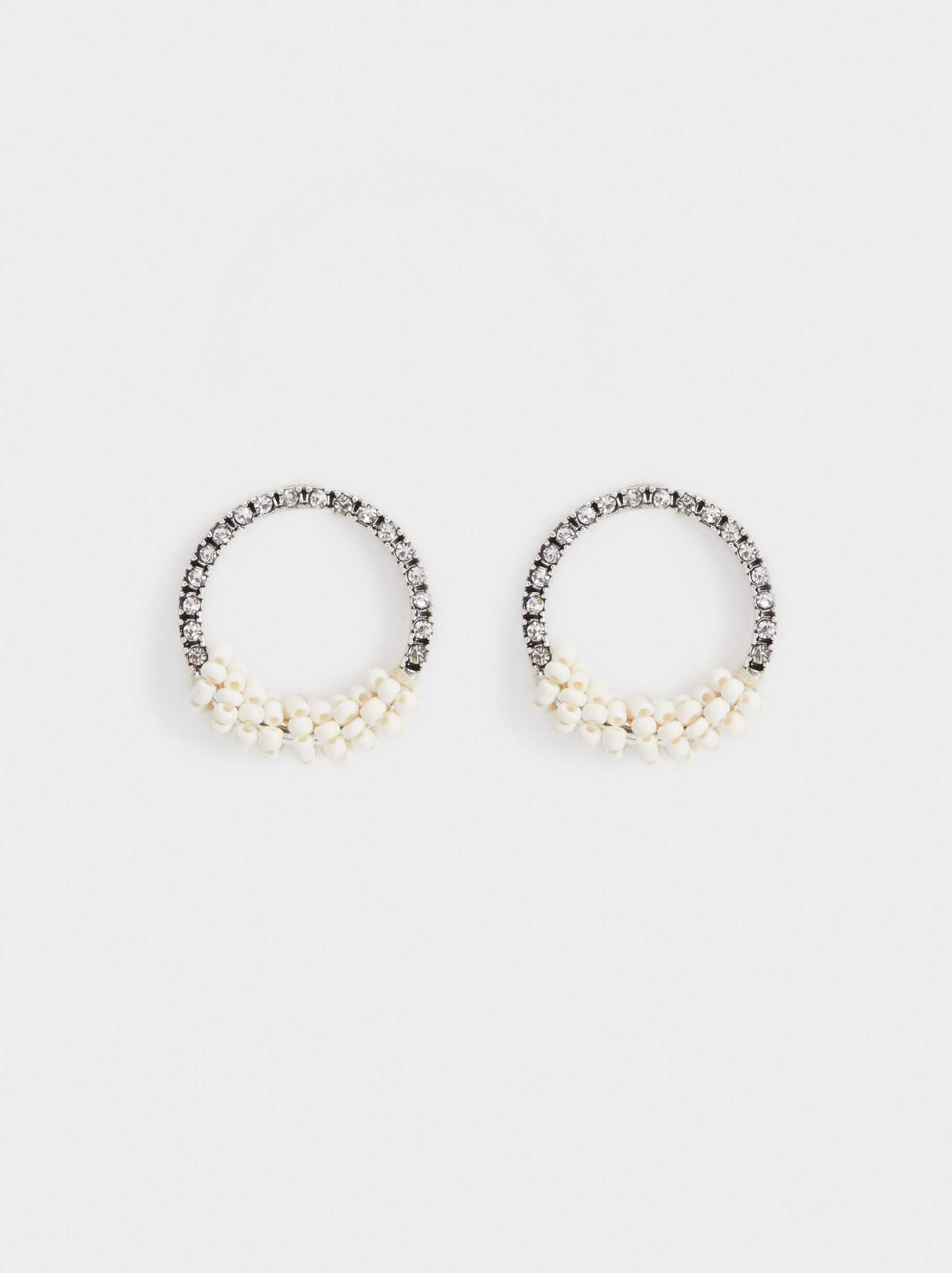 White Fields Beaded Earrings, , hi-res