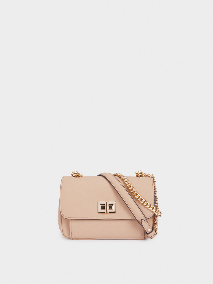 Crossbody Bag With Front Flap Fastening, Beige, hi-res
