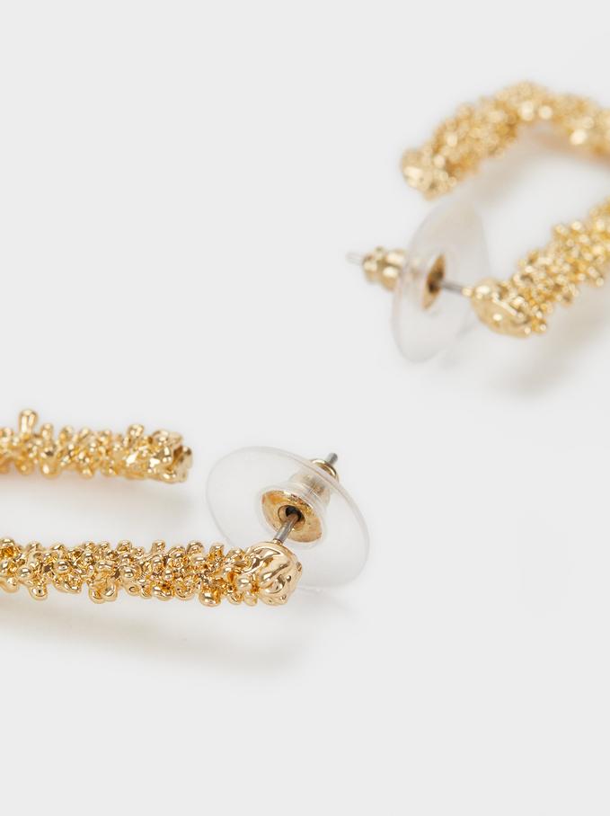 Small Square Hoop Earrings, Golden, hi-res