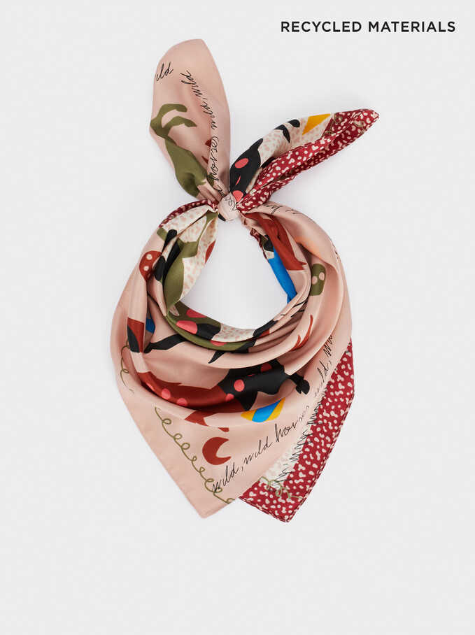 Animal Print Square Scarf, Pink, hi-res