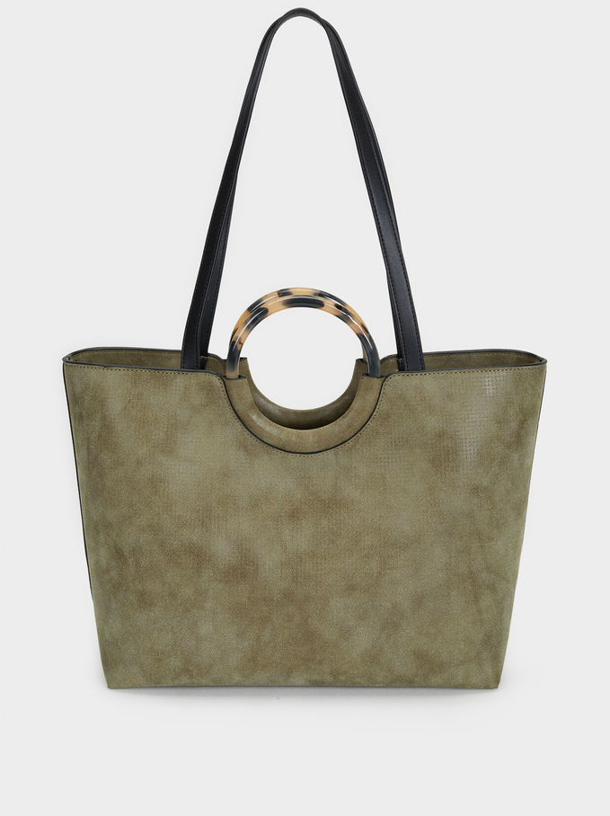 Tote Bag With Tortoiseshell Handle, Khaki, hi-res