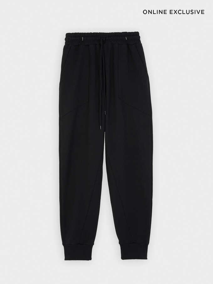 Cotton Jogger-Style Trousers, Black, hi-res