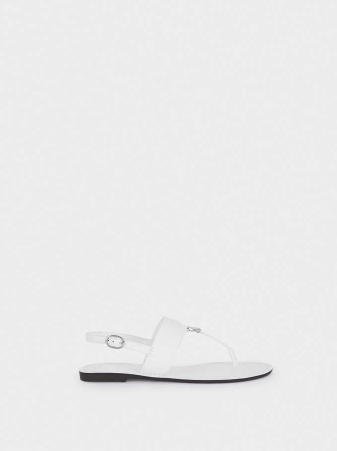 Flat Strappy Sandals, White, hi-res
