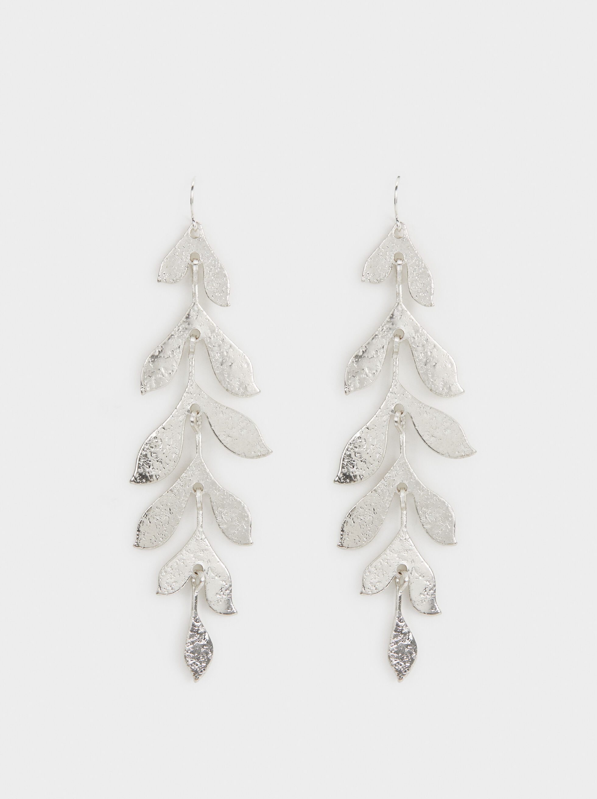 Leaf Dangle Earrings, Silver, hi-res