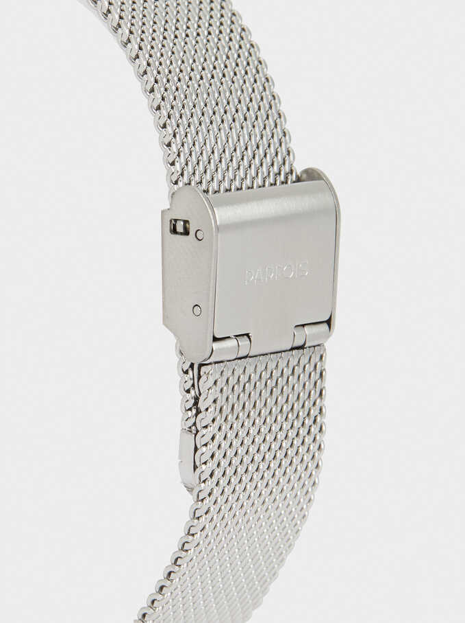 Reloj Correa De Malla Metálica, Plateado, hi-res
