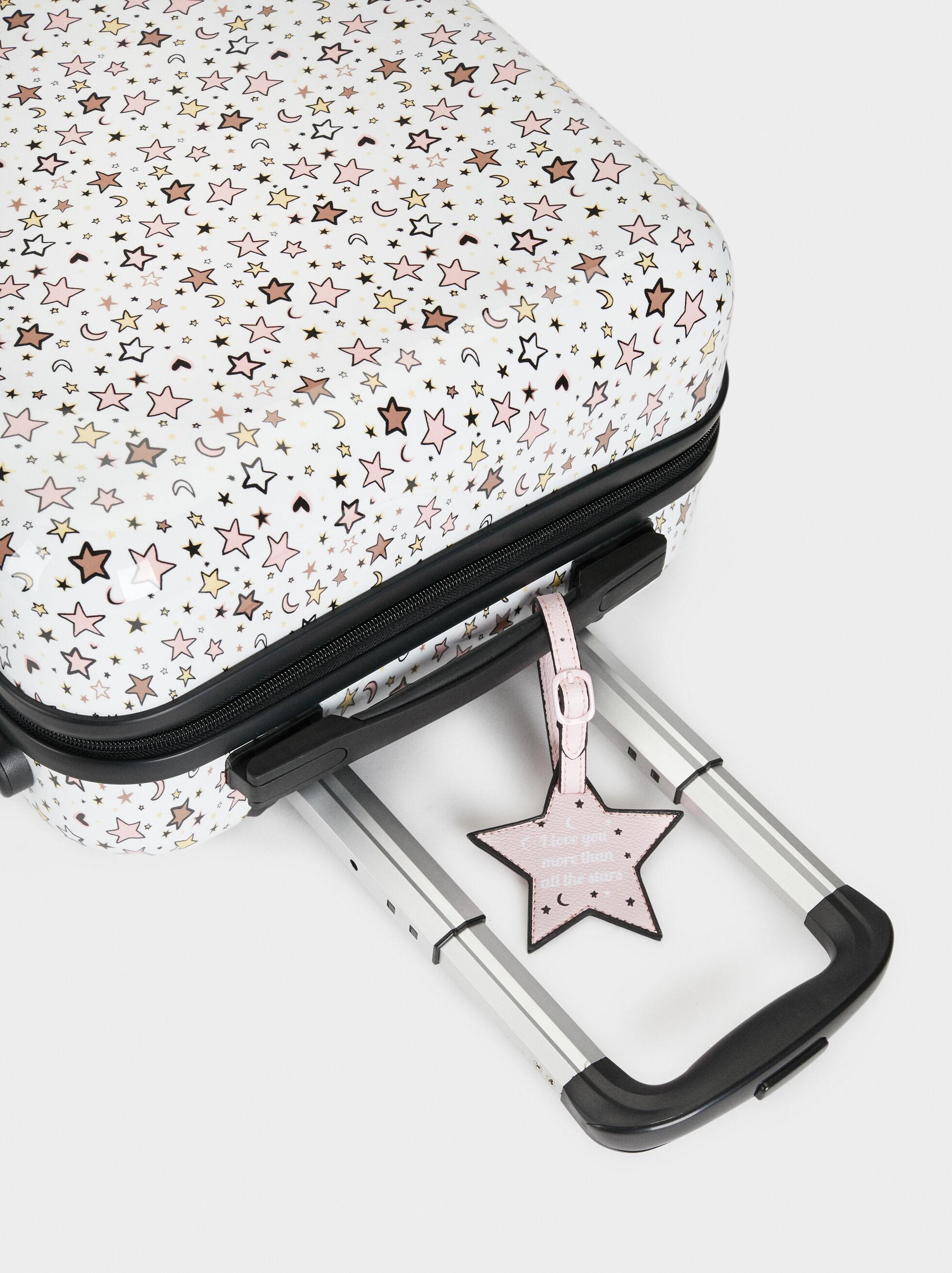 Star Print Trolley Case, White, hi-res
