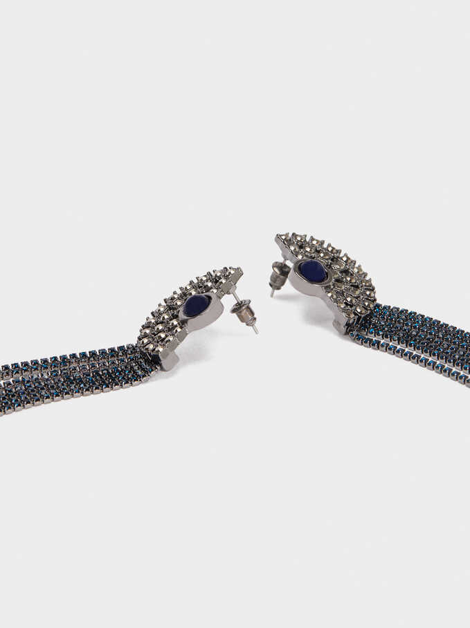 Extra Long Earrings With Crystals, Blue, hi-res