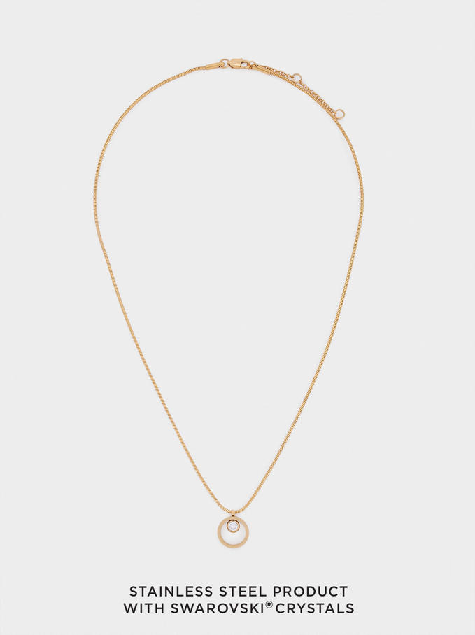 Short Silver Stainless Steel Necklace With Swarovski Crystals, Golden, hi-res