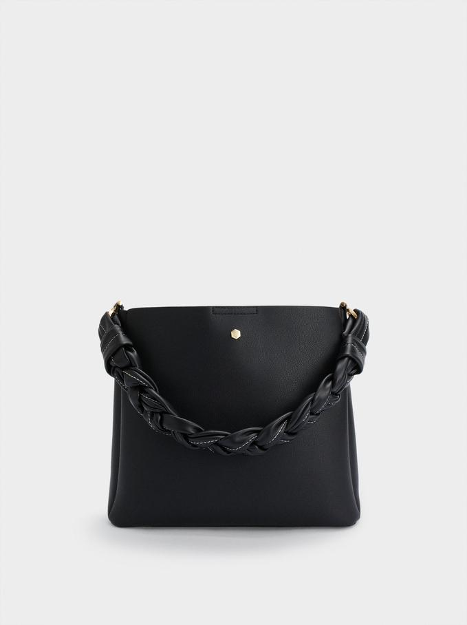 Handbag With Braided Handle, Black, hi-res