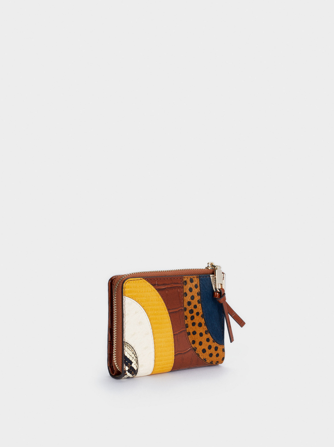 Patchwork Design Compact Wallet, Blue, hi-res