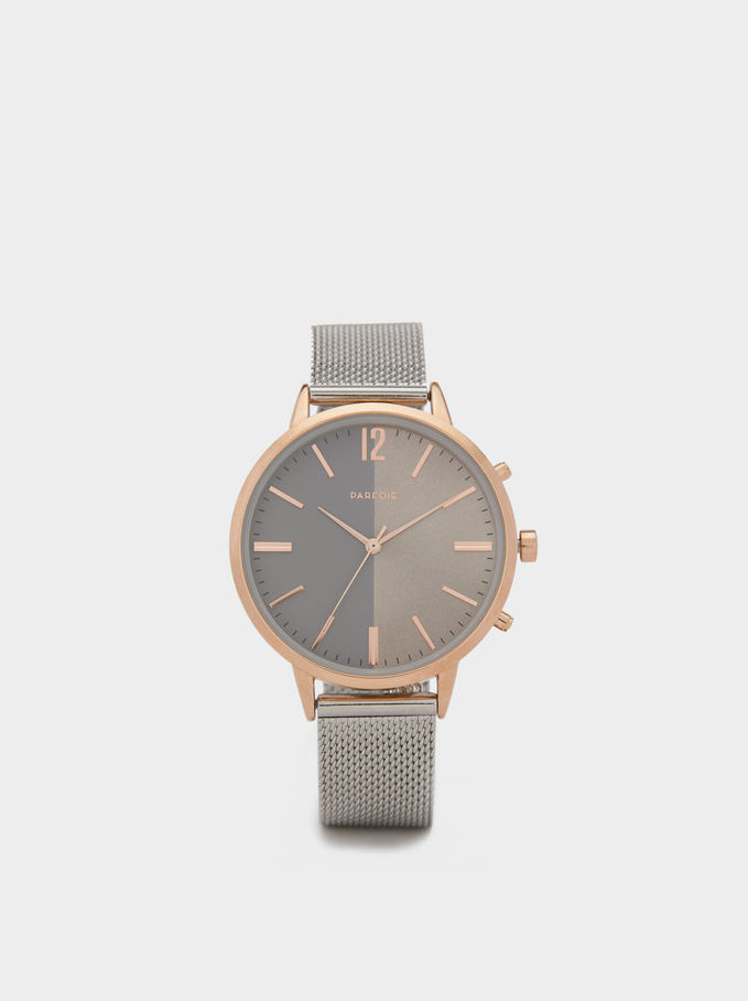 Watch With Silver Mesh Wristband, Silver, hi-res