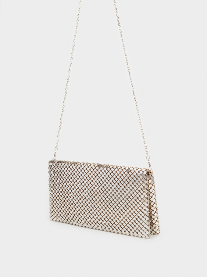 Big Mesh Party Clutch, Golden, hi-res