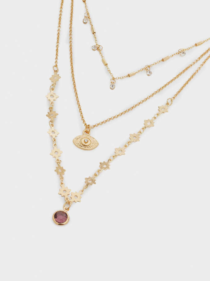 Set Of Eye Necklaces With Crystals, Golden, hi-res