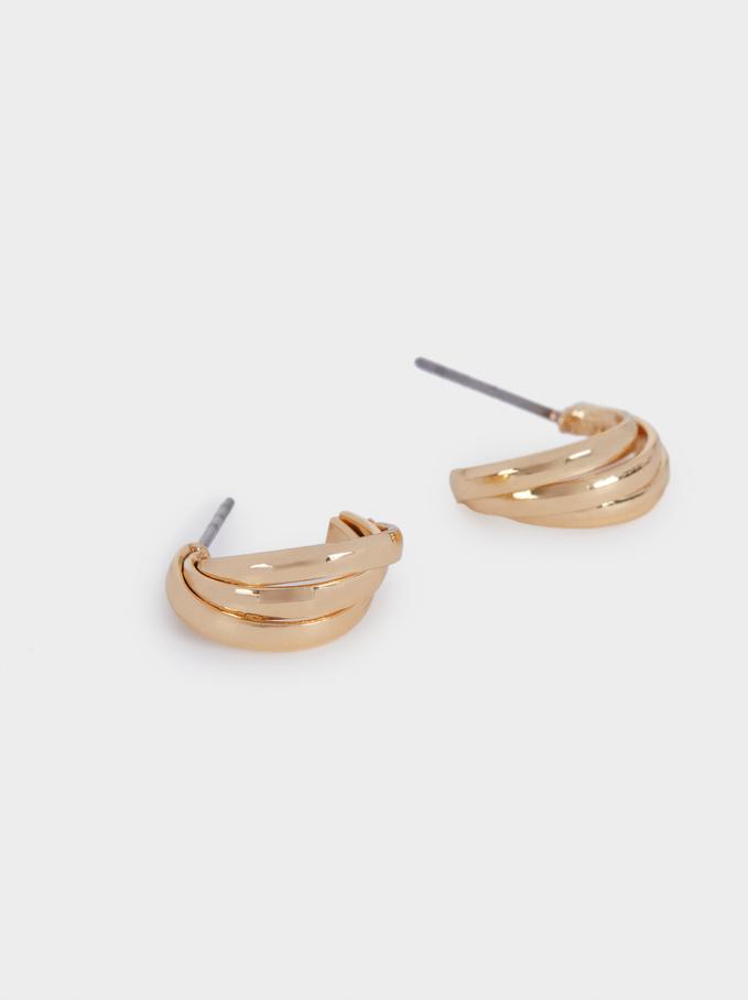 Small Golden Hoop Earrings, Golden, hi-res