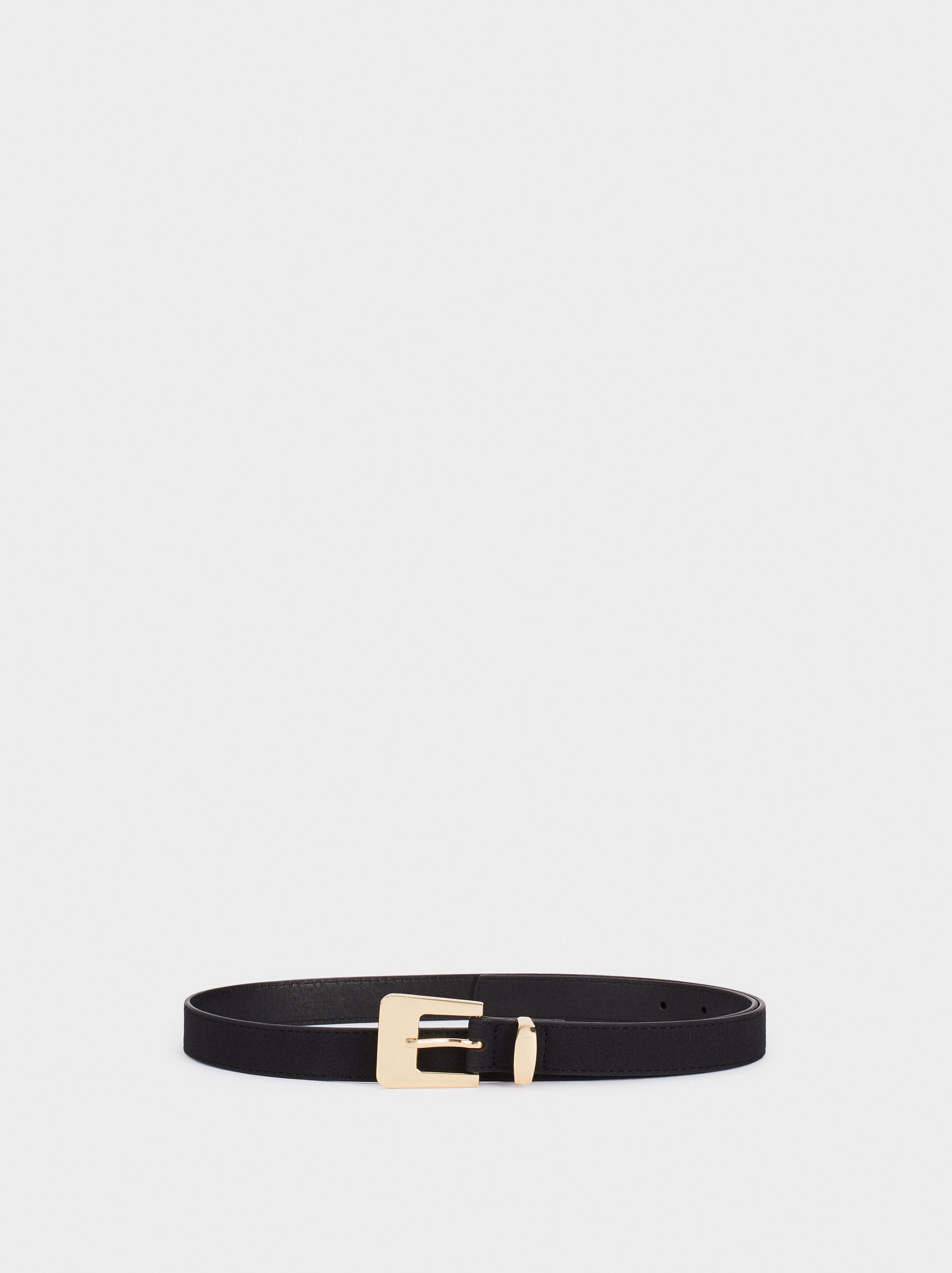 Narrow Belt With Contrast Buckle, Black, hi-res