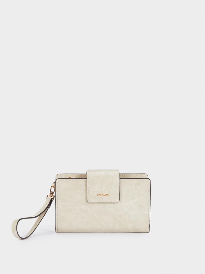 Unifarbene Brieftasche Mit Handgriff, Ekrü, hi-res