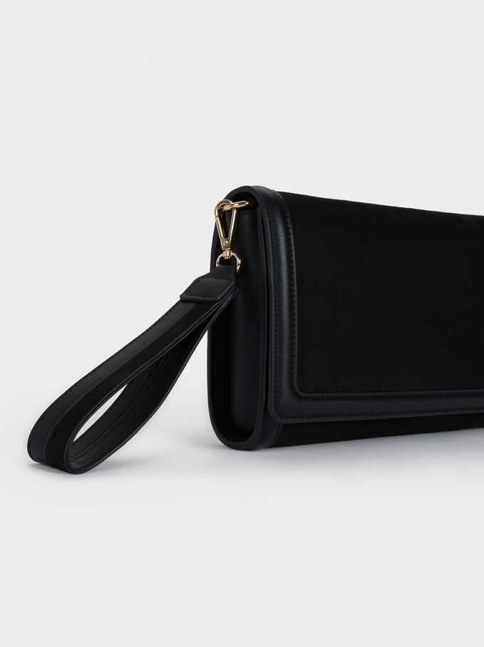 Textured Suede Handbag, Black, hi-res