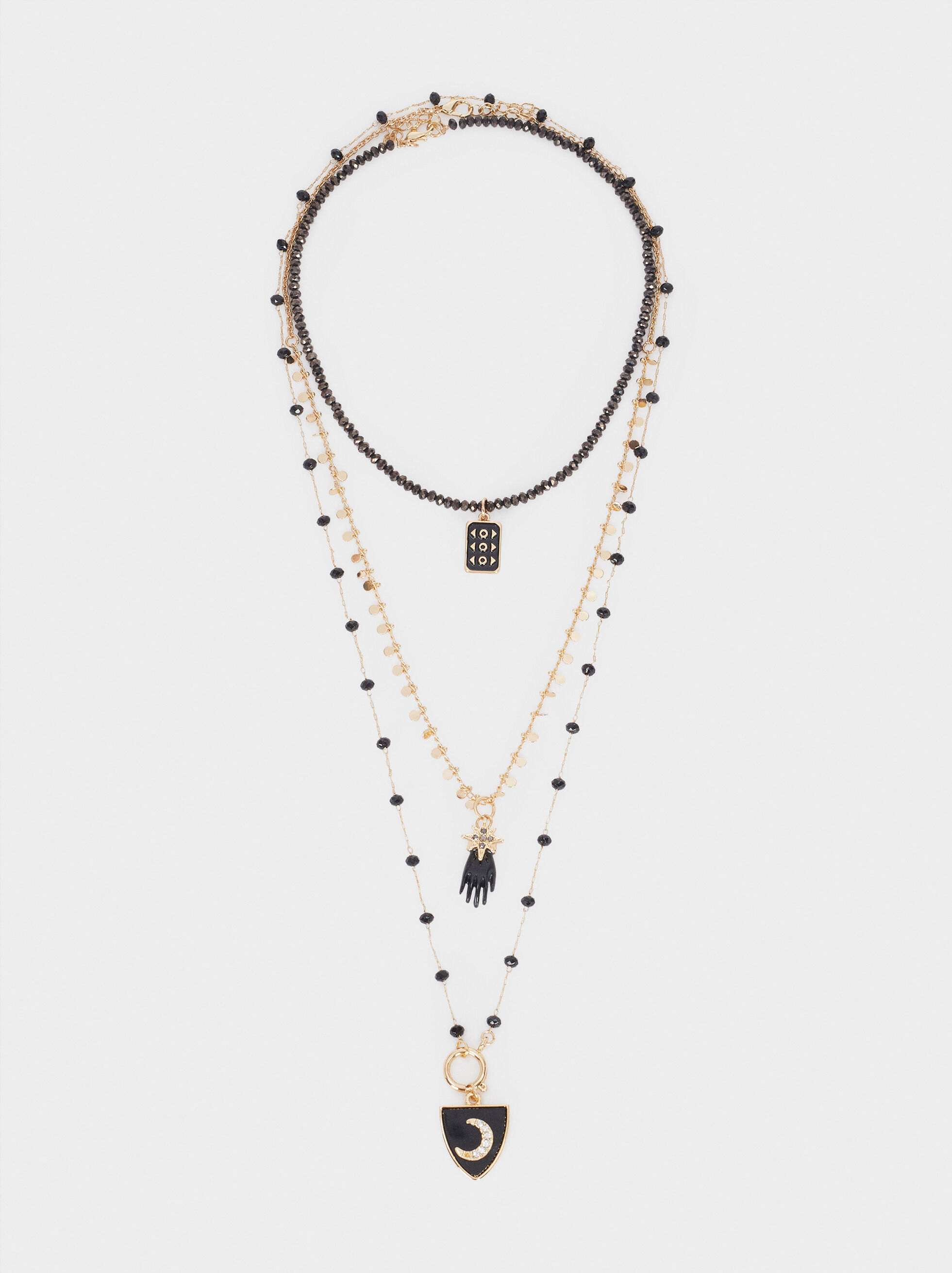 Long Necklace With Multicoloured Crystals And Charms, Multicolor, hi-res
