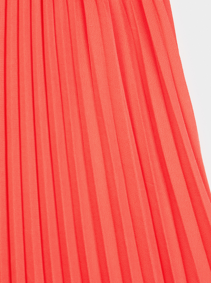 Long Pleated Skirt, Coral, hi-res