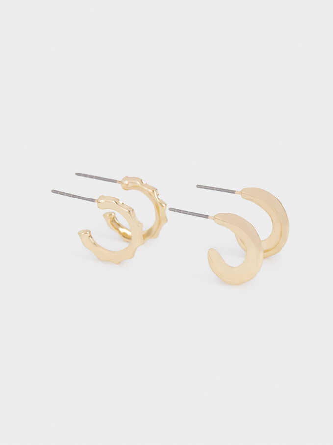 Set Of Golden Hoop Earrings, Golden, hi-res