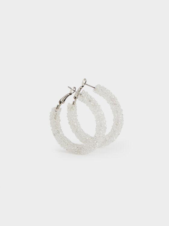 White Fields Medium Beaded Hoop Earrings, White, hi-res