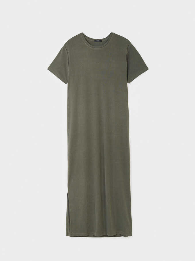 Long Dress With Short Sleeves And A Round Neckline, Khaki, hi-res
