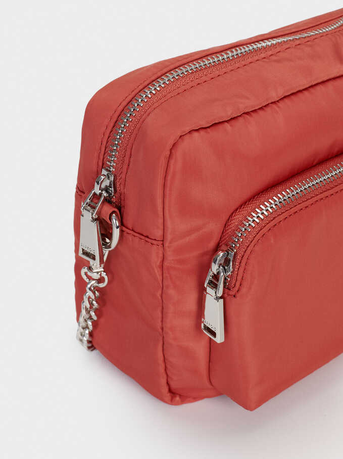 Nylon Crossbody Bag With Outer Pocket, Pink, hi-res