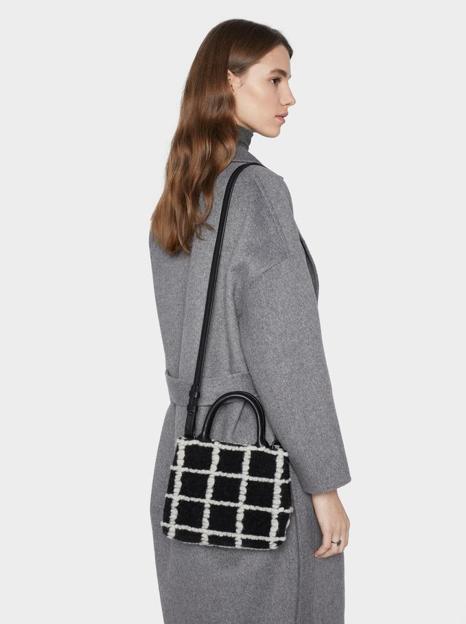 Contrast Checked Print Crossbody Bag, Black, hi-res