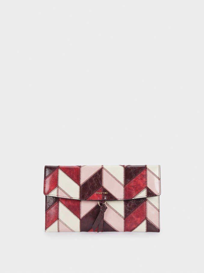 Patchwork Design Multi-Purpose Bag, Bordeaux, hi-res