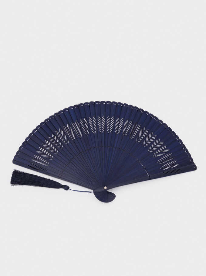 Perforated Fan With Tassel, Navy, hi-res